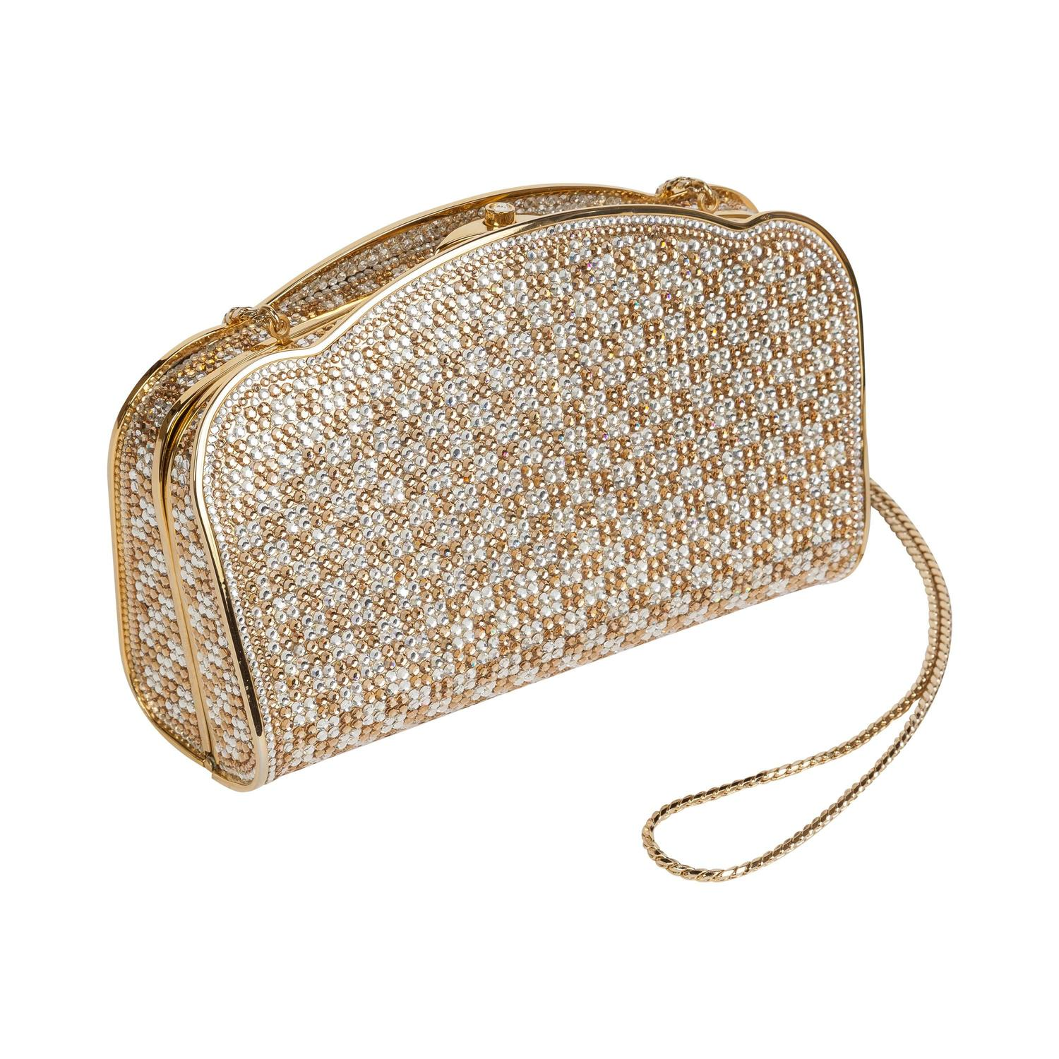 Judith Leiber Gold and Silver Swarovski Crystal Minaudière Evening ...