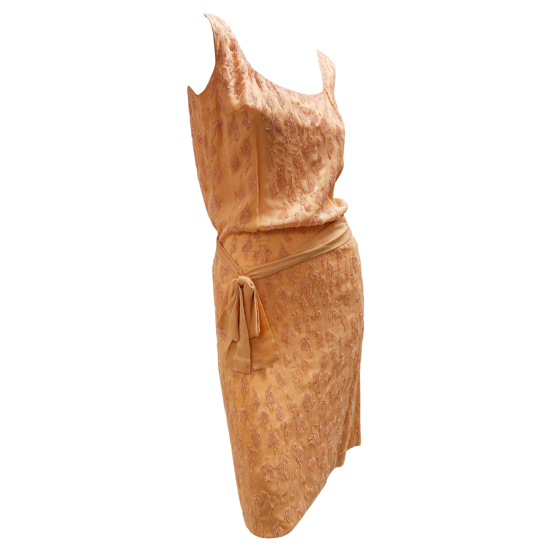 1960s Caramel Silk Beaded Tank Dress W/ Blouson Waist