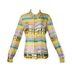 Moschino Vintage Metallic Silk Striped Button Up Blouse