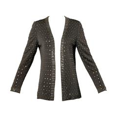 Adele Simpson Vintage Crystal Rhinestone + Beaded Silk Jersey Jacket