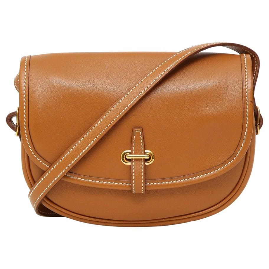 Hermès camel leather balle de golf shoulder bag / handbag