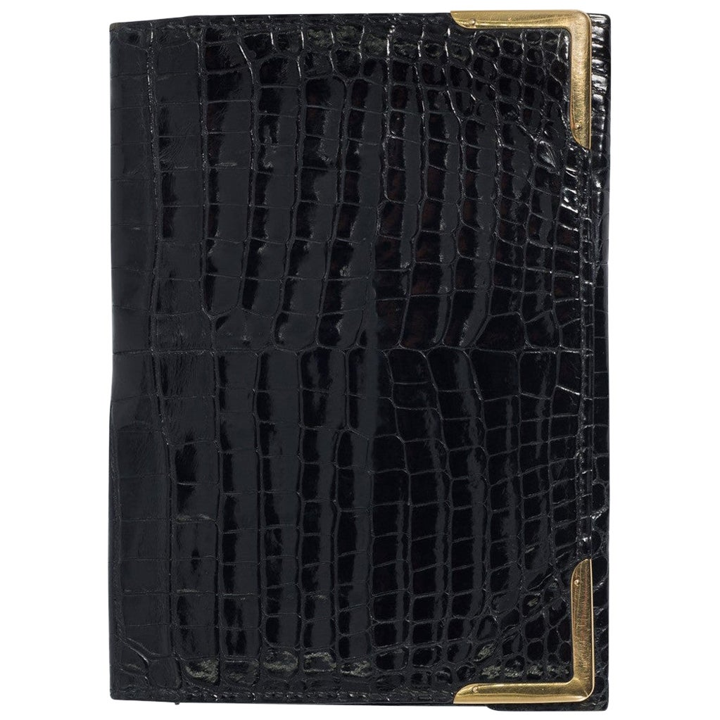 Superb Hermes Paris 1960s  Black Crocodile Gold Cornered Wallet
