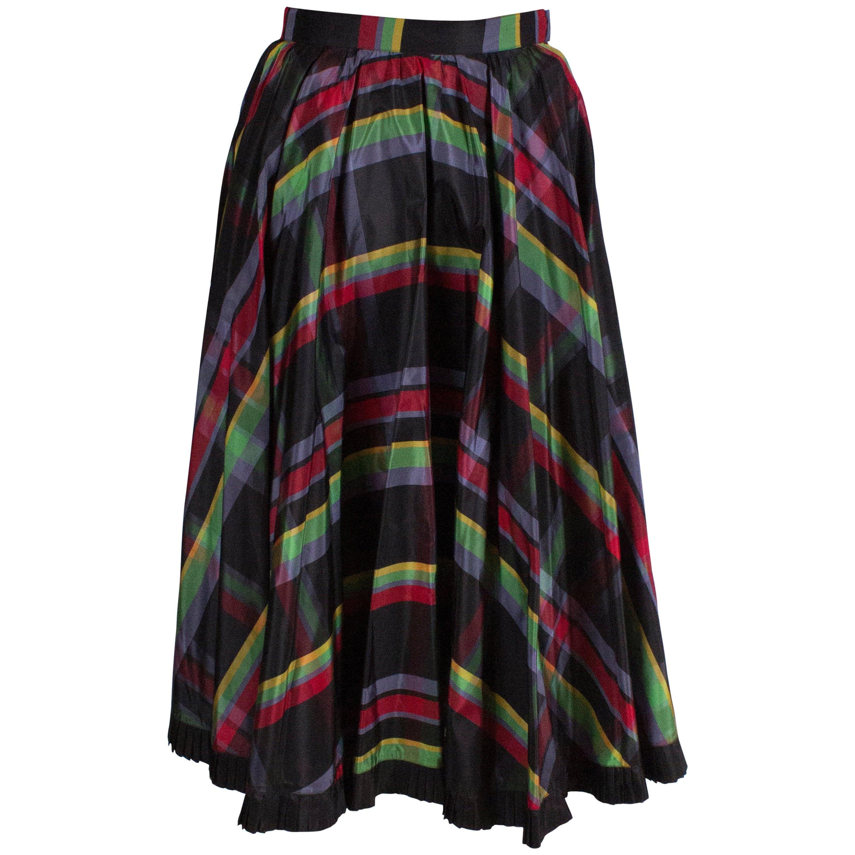 Vintage Italian Multi Colour  Stripe Silk Skirt with Black Frilled Underskirt