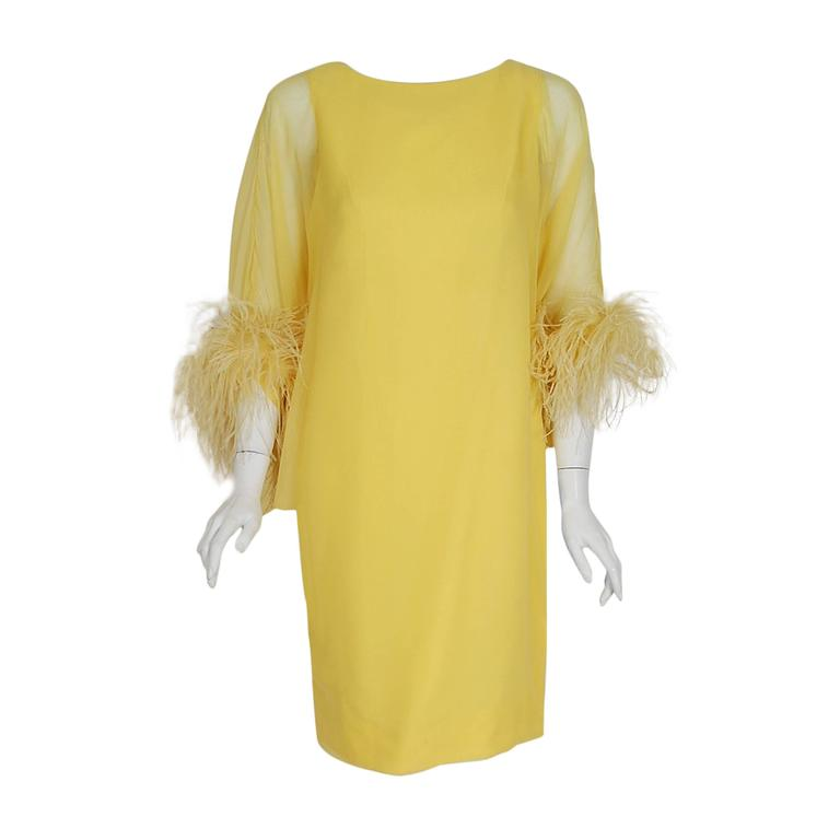 1960's Documented Yma Sumac Yellow Silk-Chiffon & Ostrich-Feather Caftan Dress For Sale