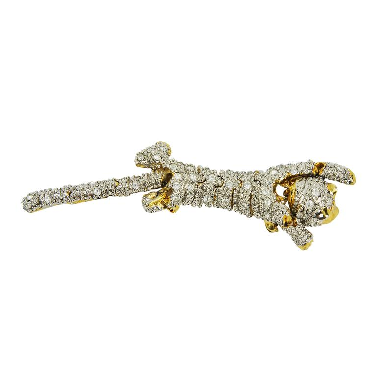 Striking Designer CZ Pave Cat Cheetah Articulated Brooch Pin  1