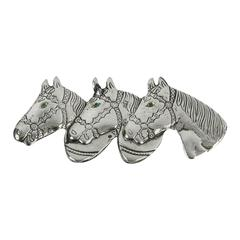 Triple Horse Head Sterling Silver Brooch Pin