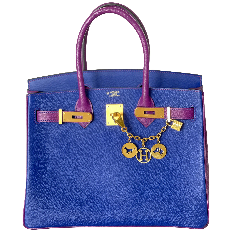 Hermes Birkin Bag HSS 2 Tone Anemone Blue Electric Brush Gold