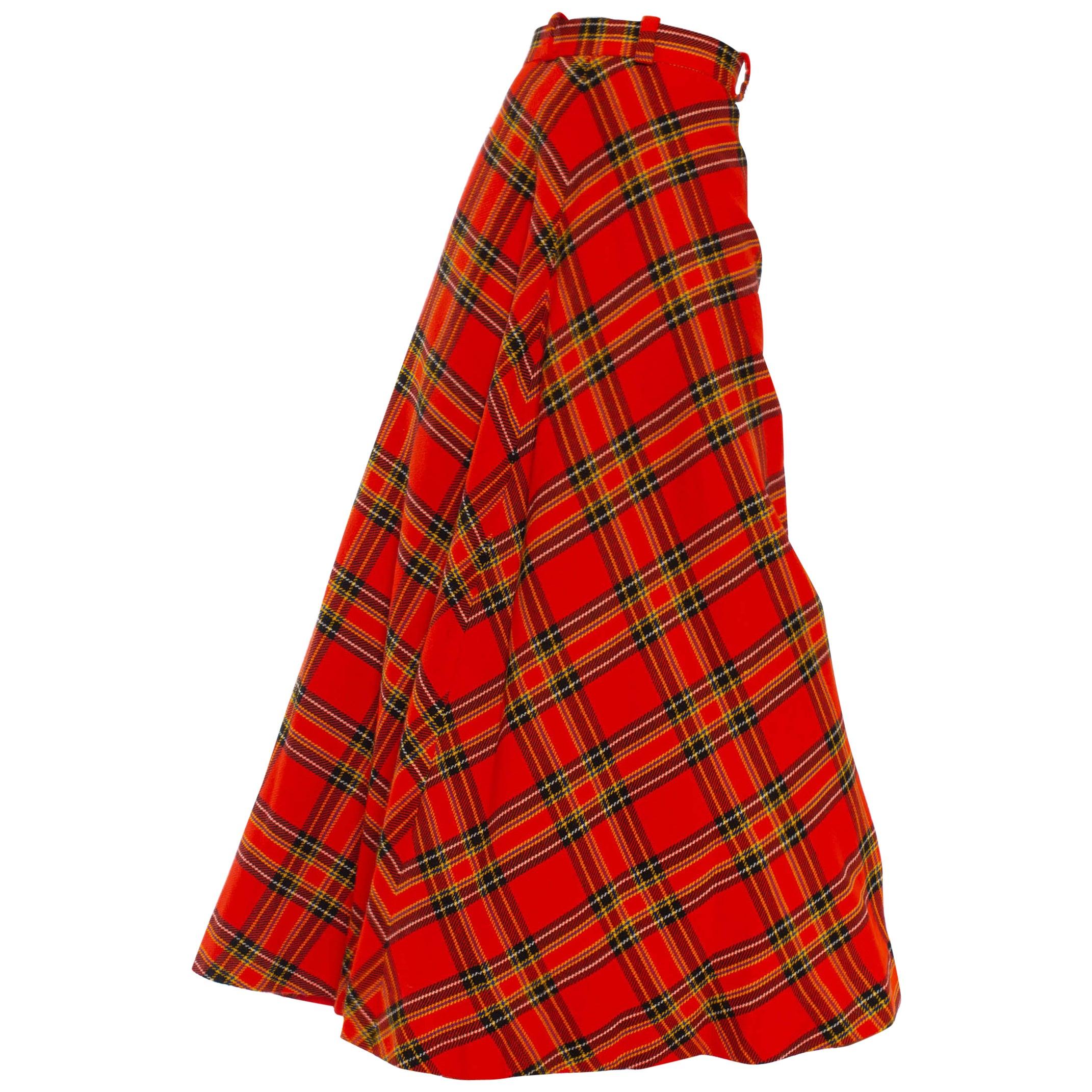 1970S Black & Red Wool Blend Tartan Bias Cut Maxi Skirt