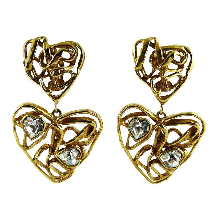 Yves Saint Laurent YSL Vintage Massive Jewelled Wired Heart Dangling Earrings