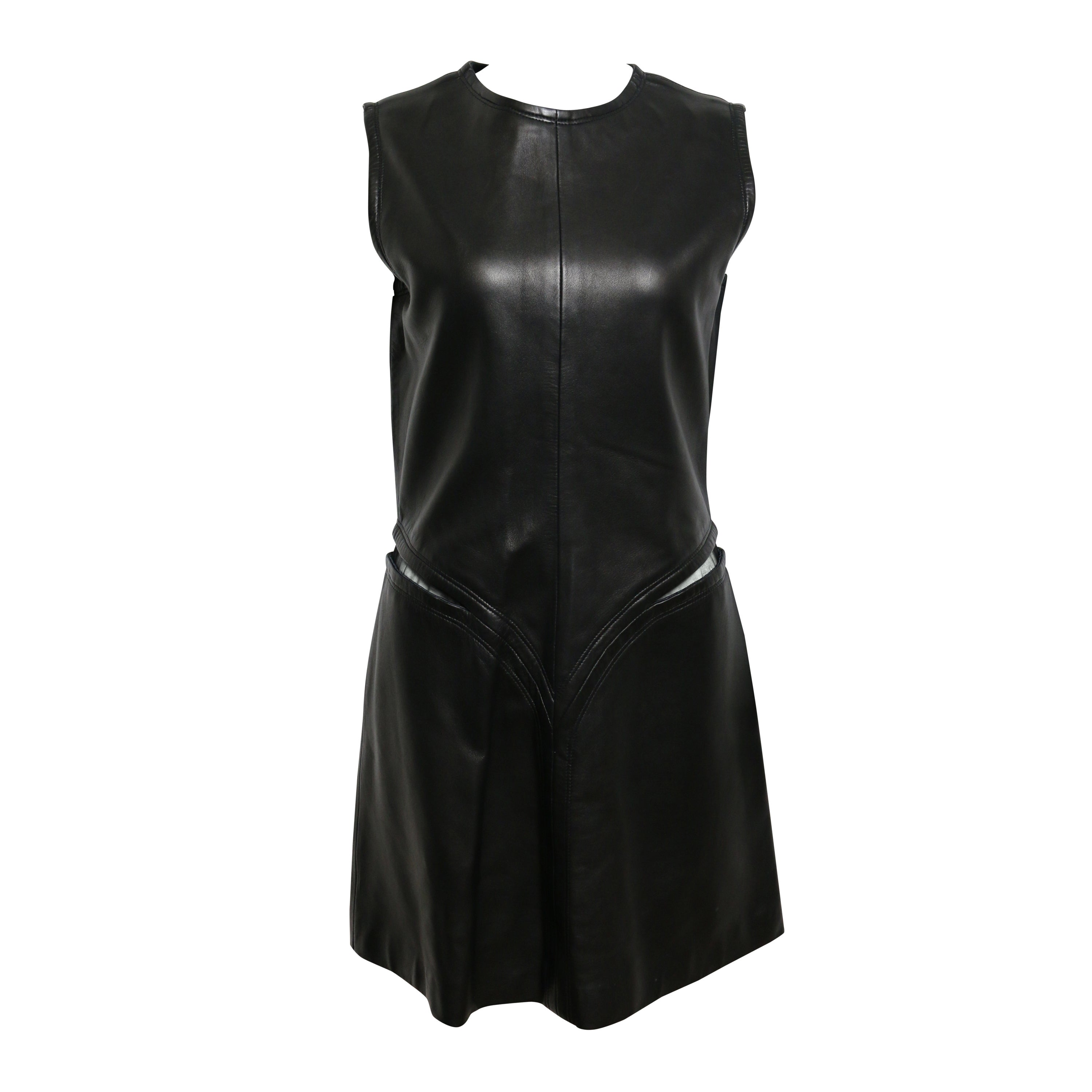 6f626718492 Gianni Versace Cutout Black Leather Dress For Sale at 1stdibs