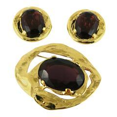 Yves Saint Laurent YSL Vintage Amethyst Earring and Brooch Set