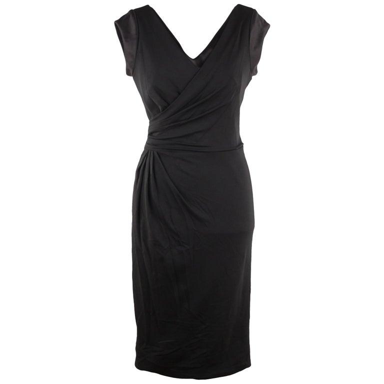 VERSACE Italian V Neck LITTLE BLACK DRESS Sheath w/ Drape Front SIZE 40 For Sale
