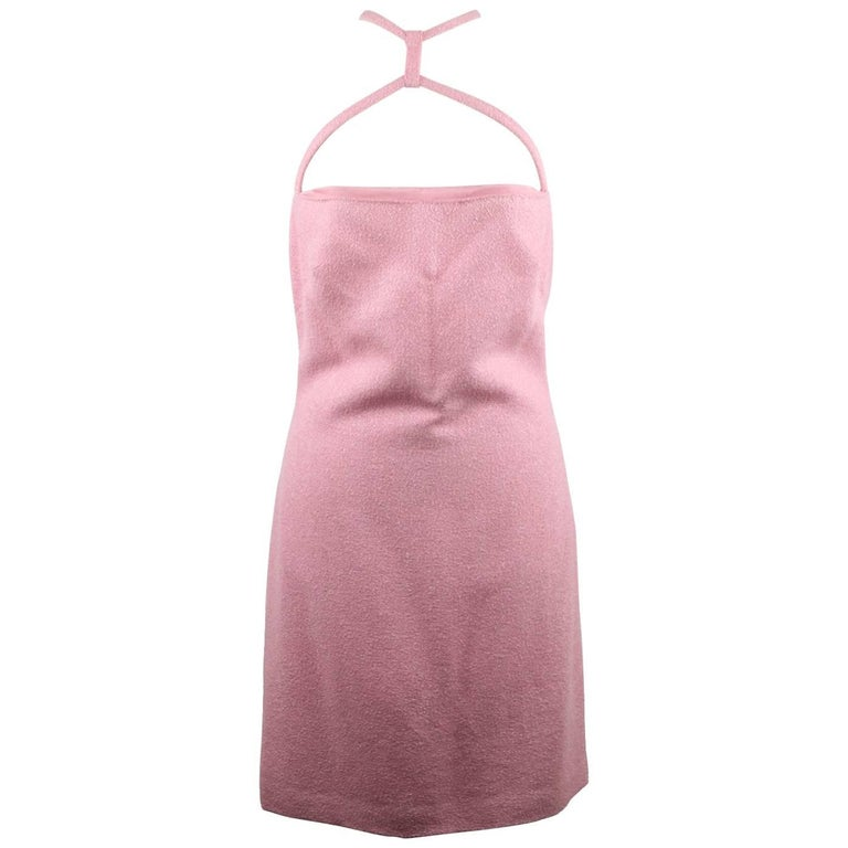 VERSACE Italian Pink Cotton Blend SLEEVELESS Mini DRESS Size 38 IT