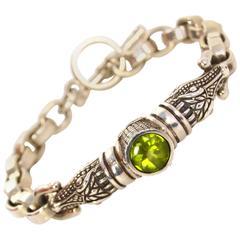 Barry Kieselstein-Cord Sterling Chain Link Gator Head Bracelet & Peridot Stone