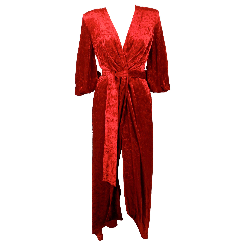 1985 YVES SAINT LAURENT crimson crushed velvet wrap RUNWAY dress