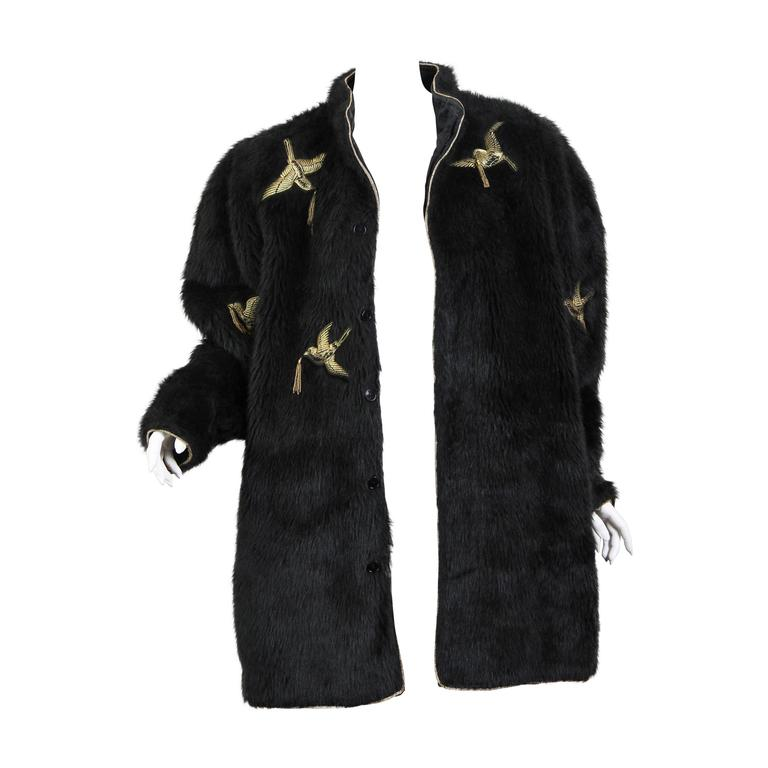 Kansai Yammamoto Faux Fur Coat with Gold Swallows 1