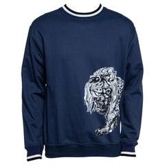 Louis Vuitton x Chapman Brothers Blue Lion Flock Print Sweatshirt L