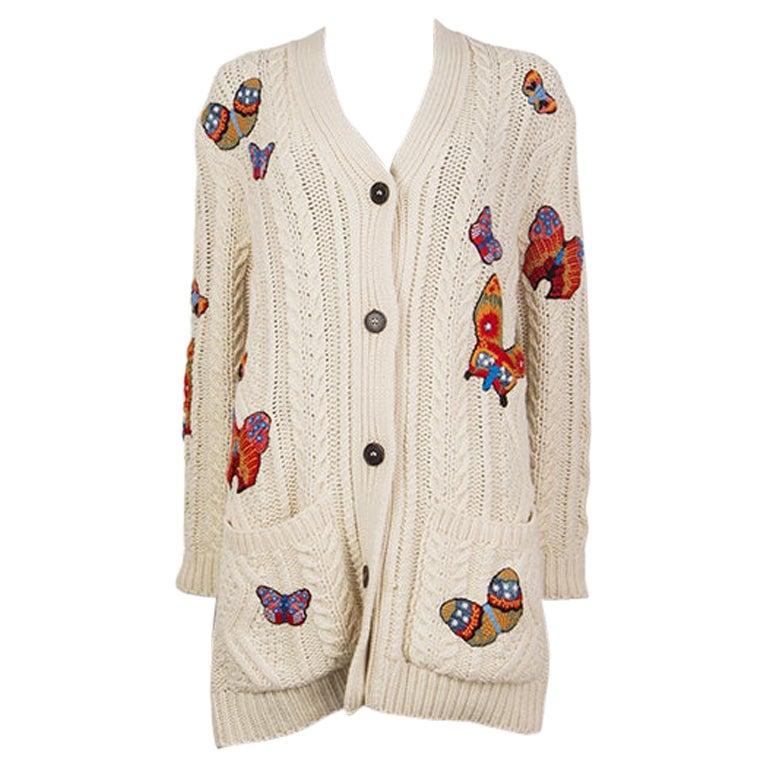 VALENTINO white alpaca & yak OVERSIZED BUTTERFLY Cardigan Sweater S