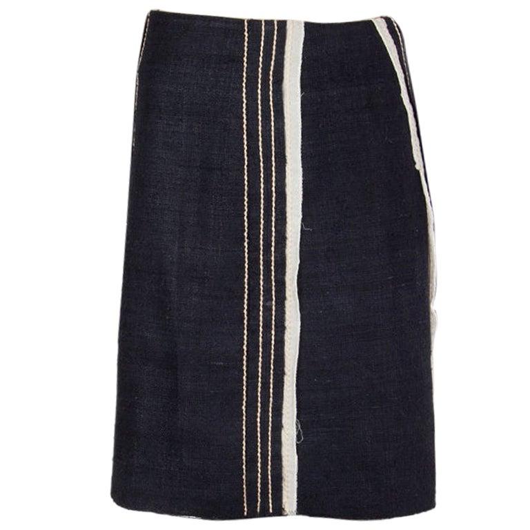 PRADA blue silk & cotton STRIPE PANELED TWEED Skirt 40 S