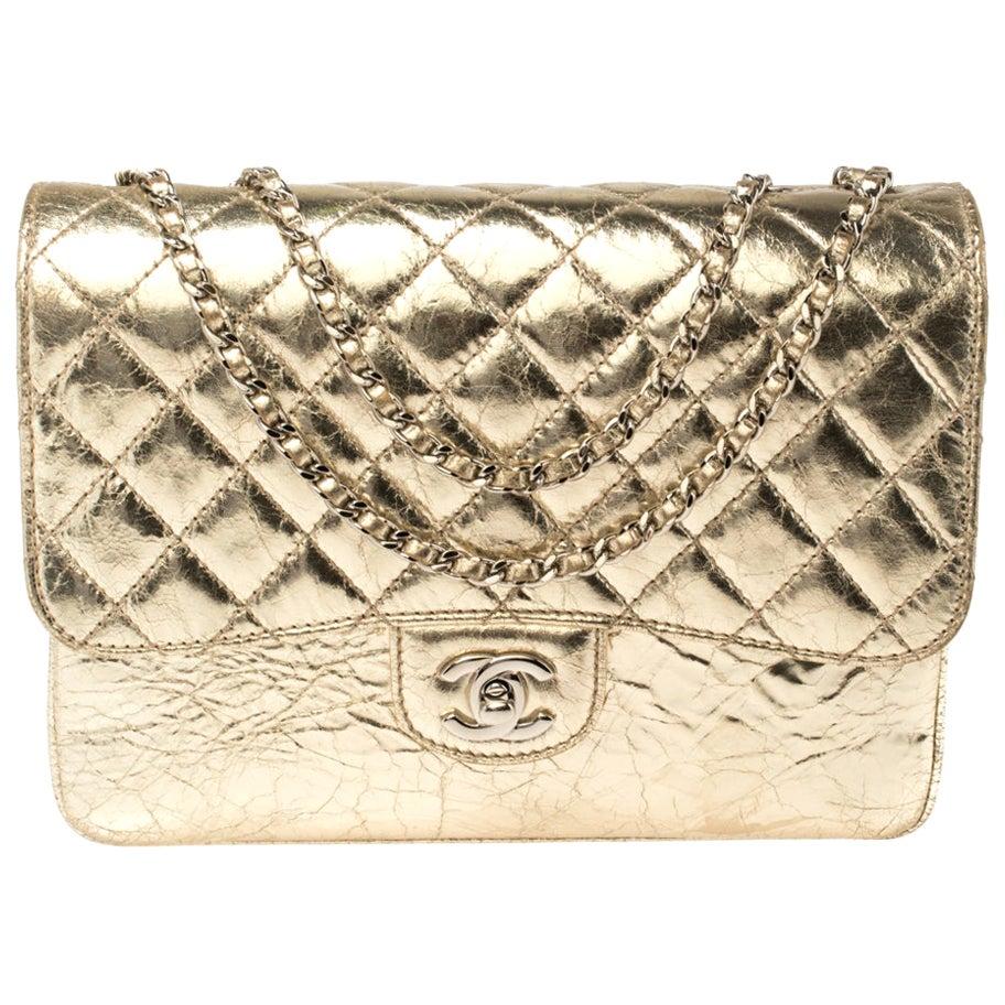 Chanel Metallic Gold Crackled Leather Medium Clam's Pocket Flap Bag