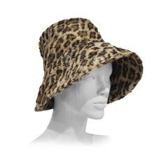 Norma Kamali leopard print faux fur hat, c. 1990s