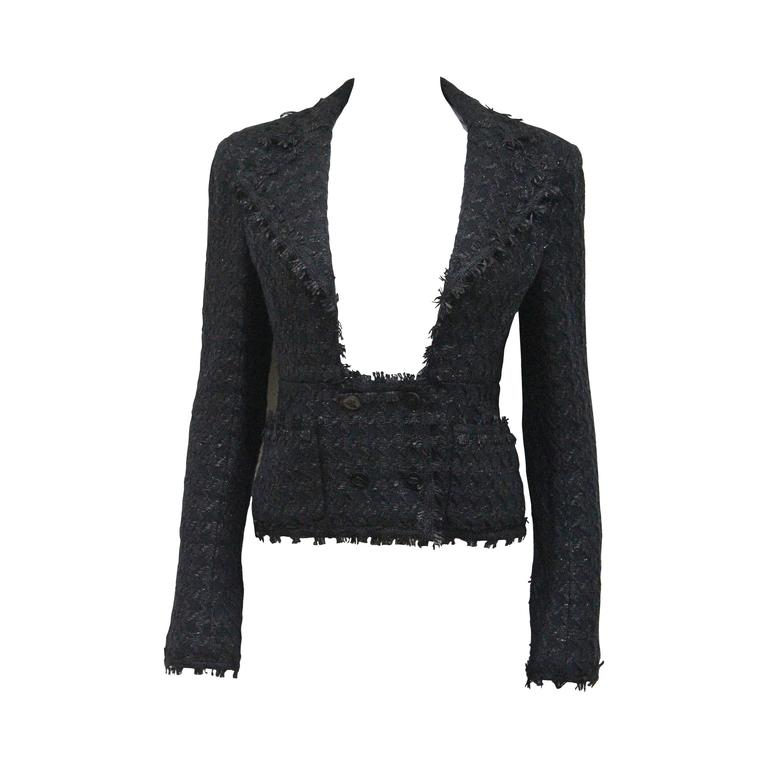 Chanel low plunge fantasy tweed black jacket, c. 2005 1