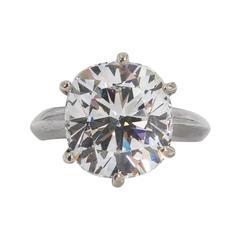 Faux  Antique Cushion Cut White Diamond Tiffany Style Setting Ring