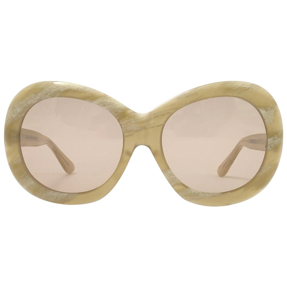 Vintage Rare A.A Sutain 343  Oversized Round Beige Sunglasses 1970's