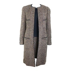 Fall 1994 Chanel Brown Wool Tweed Long Coat and Dress