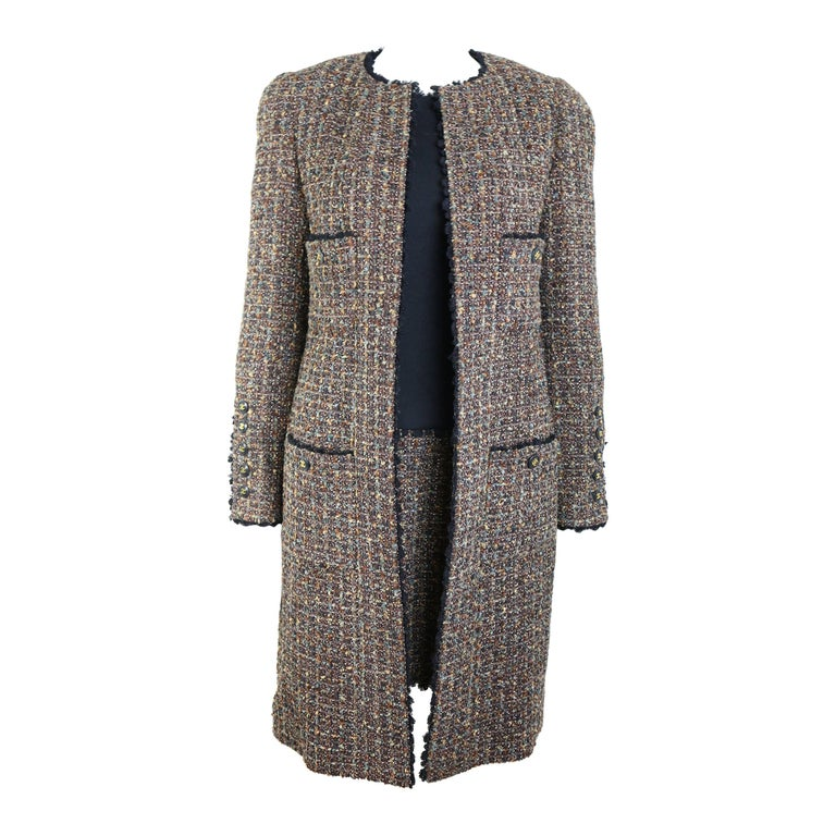 Fall 1994 Chanel Brown Wool Tweed Long Coat and Dress  For Sale