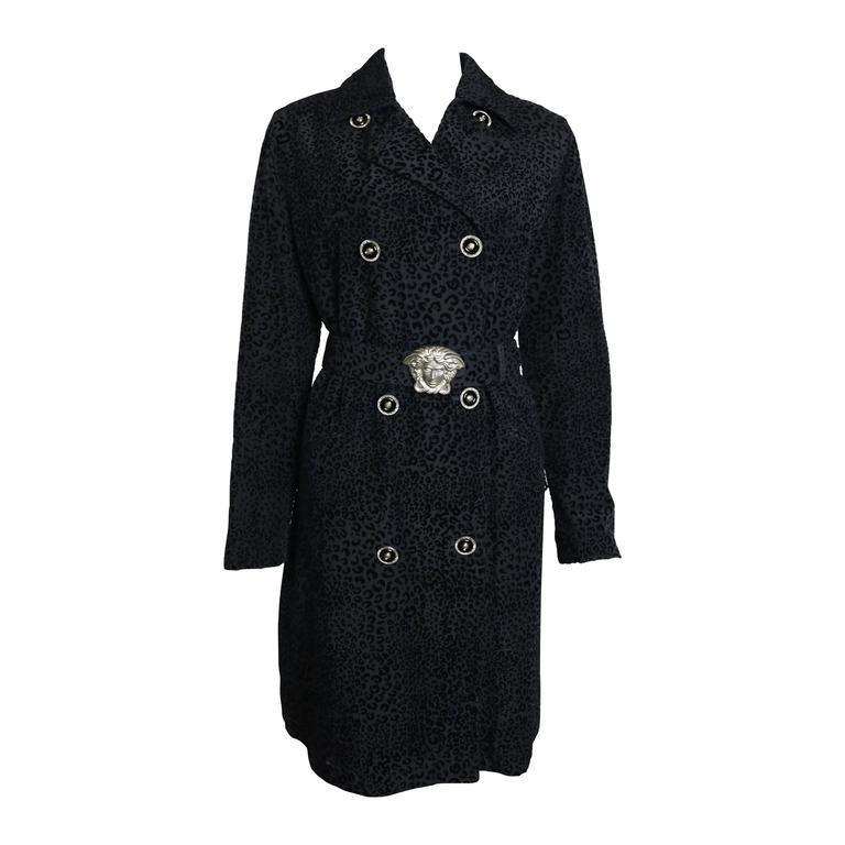 Gianni Versace Black Leopard-Print Coat