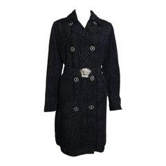 Vintage 90s Gianni Versace Black Leopard-Print Coat