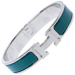Hermes Clic H Green Enamel Palladium Plated Narrow Bracelet GM