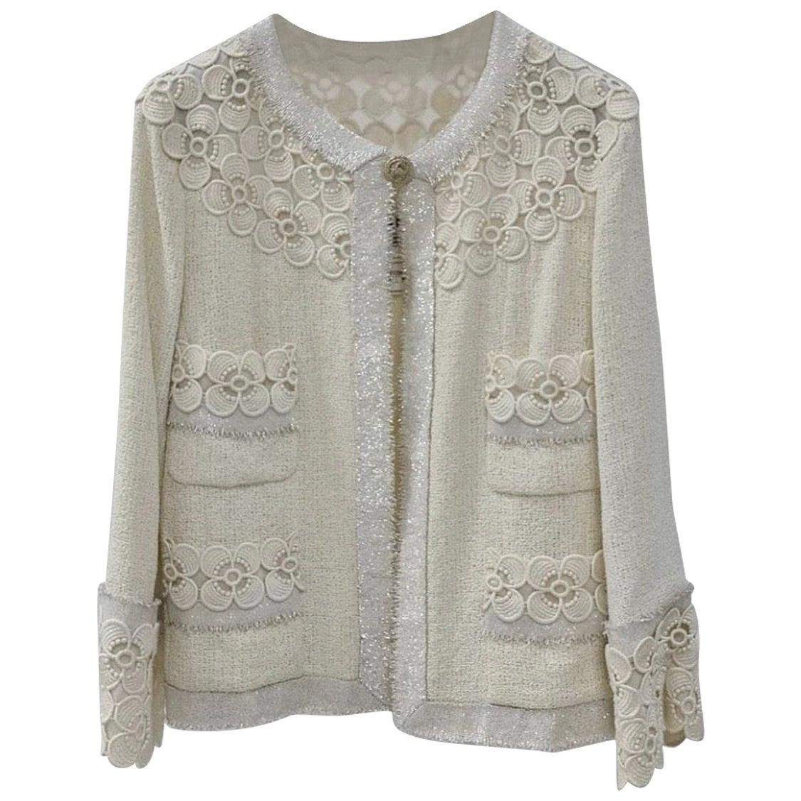 Chanel 11C Ecru Tweed Lace Camellia Jacket  Gold CC logo Button