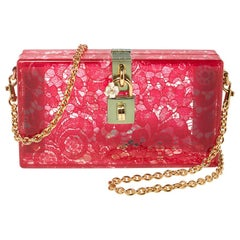 Dolce & Gabbana Red Acrylic Lace Dolce Box Bag