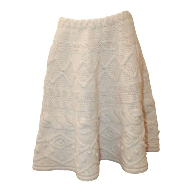 Valentino 1990's Vintage Creme Wool & Cashmere Knitted Skirt - L