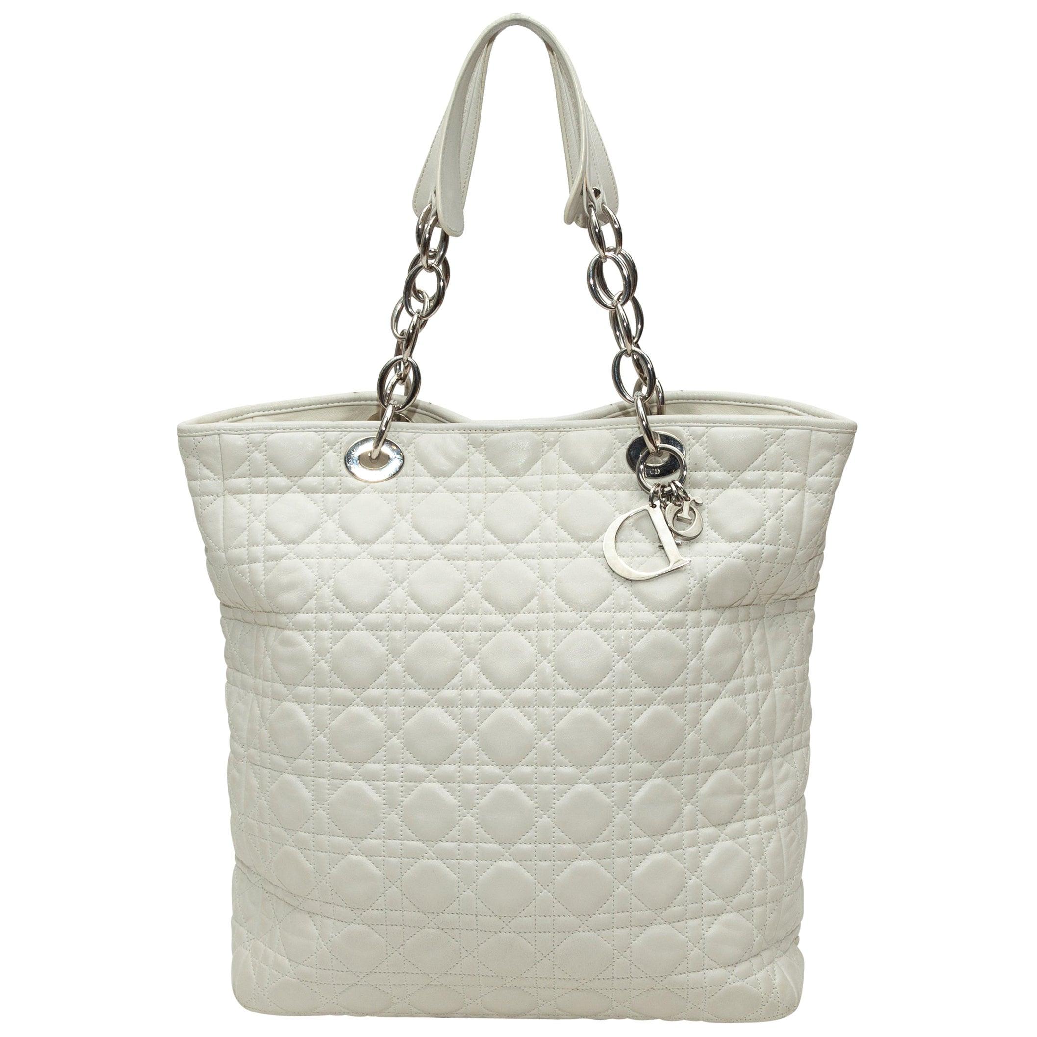 Christian Dior White Cannage Soft Shopper Tote