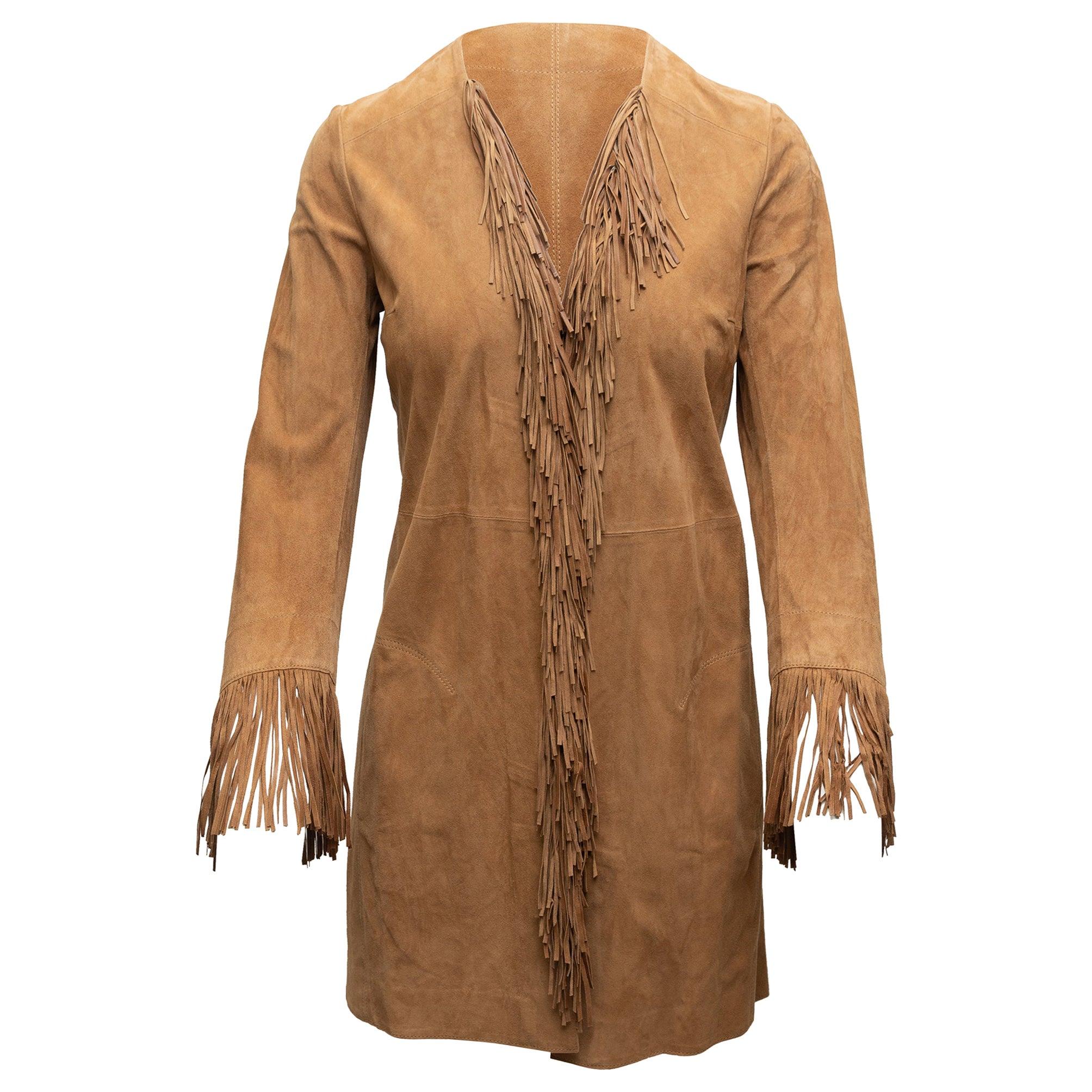 Shari's Place Brown Suede Fringe-Trimmed Coat