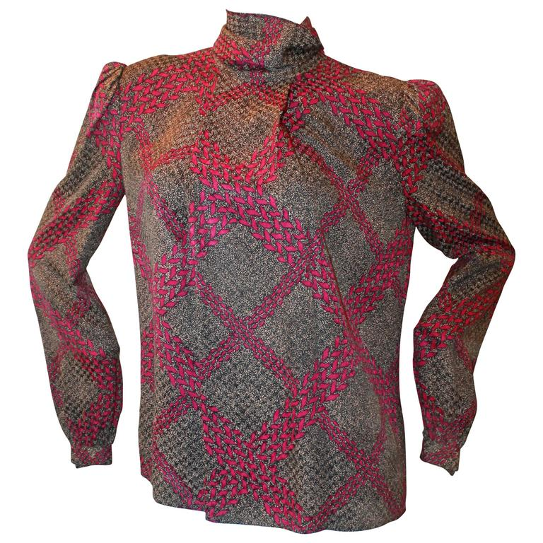 Adolfo 1970's Vintage Black & Purple Printed Long Sleeve Silk Blouse - M 1