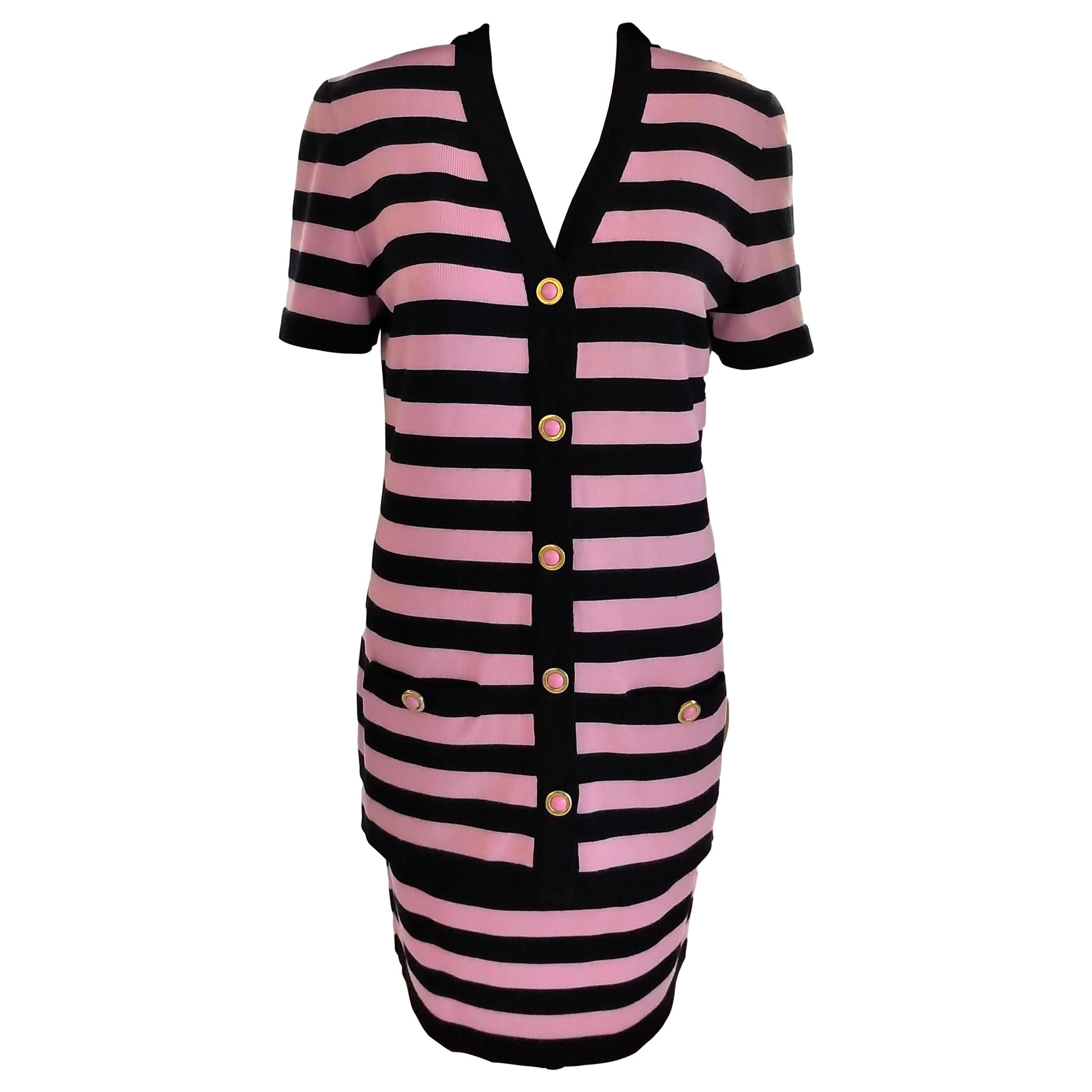 Escada 1990's Pink & Navy Logo Buttons Striped Jacket Skirt Suit 36/ 38 6