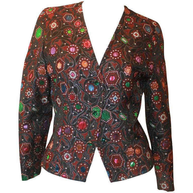 Guy Laroche Brown, Black, and Multi Tinsel Brocade Jacket - 4- Circa 80/90's