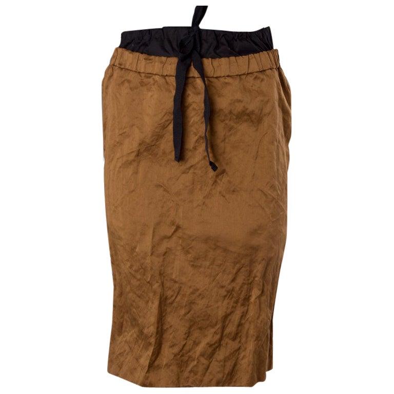 PRADA bronze brown cotton & metal Pencil Skirt 38 XS