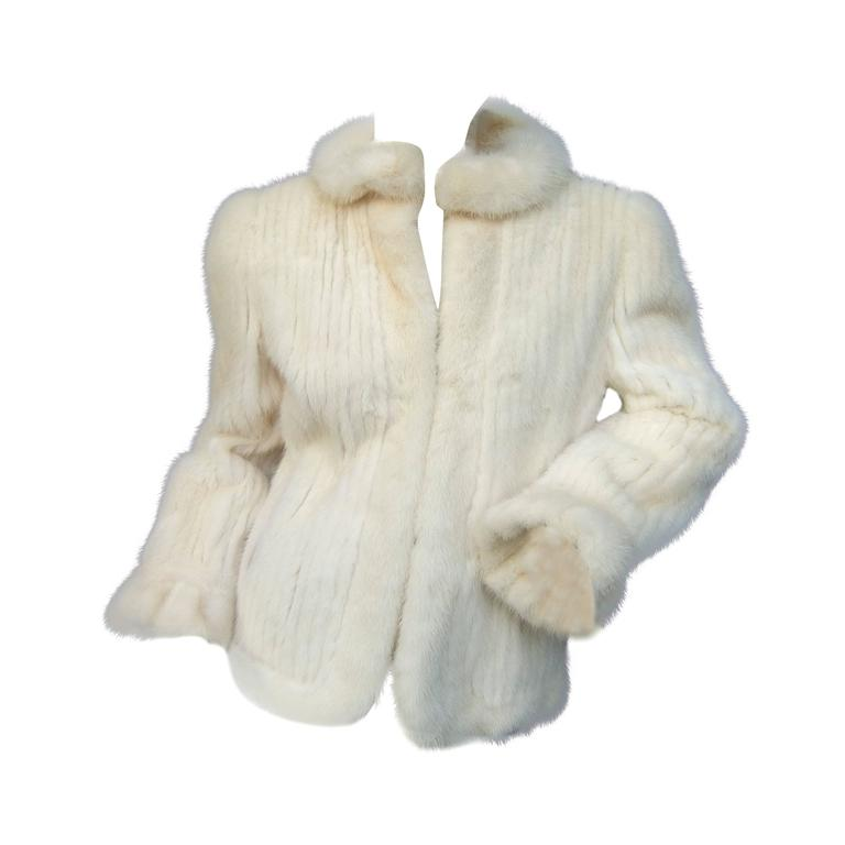 Luxurious Ribbed Pearl Mink Fur Jacket c 1980 For Sale