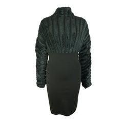 Vintage 90s Alaia Green Chenille Dress