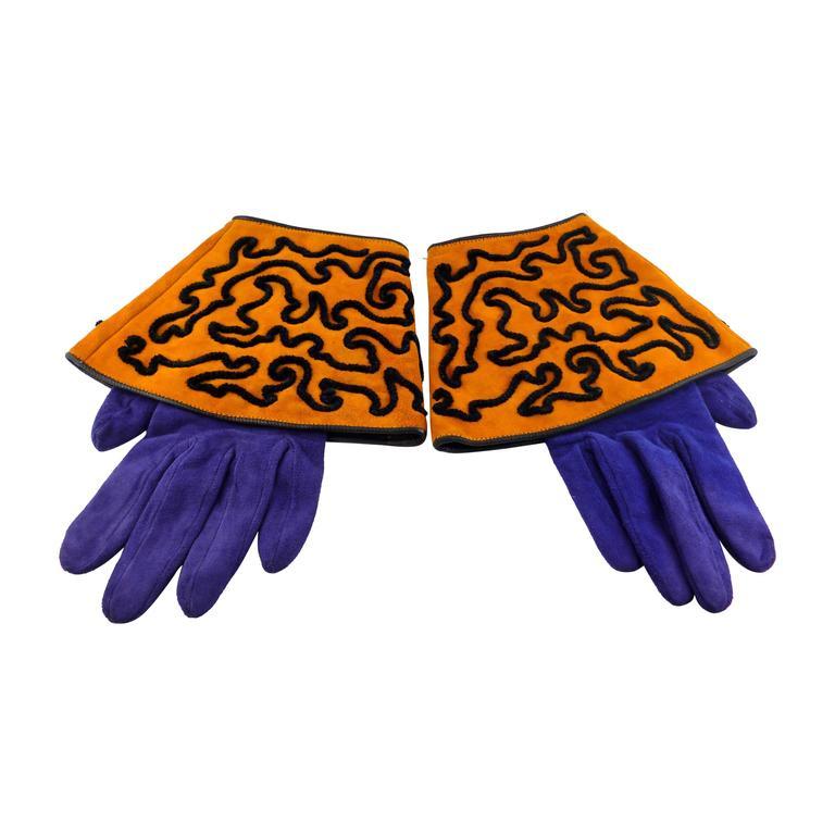 Isabel Canovas Vintage Embroidered Leather Gauntlet Gloves