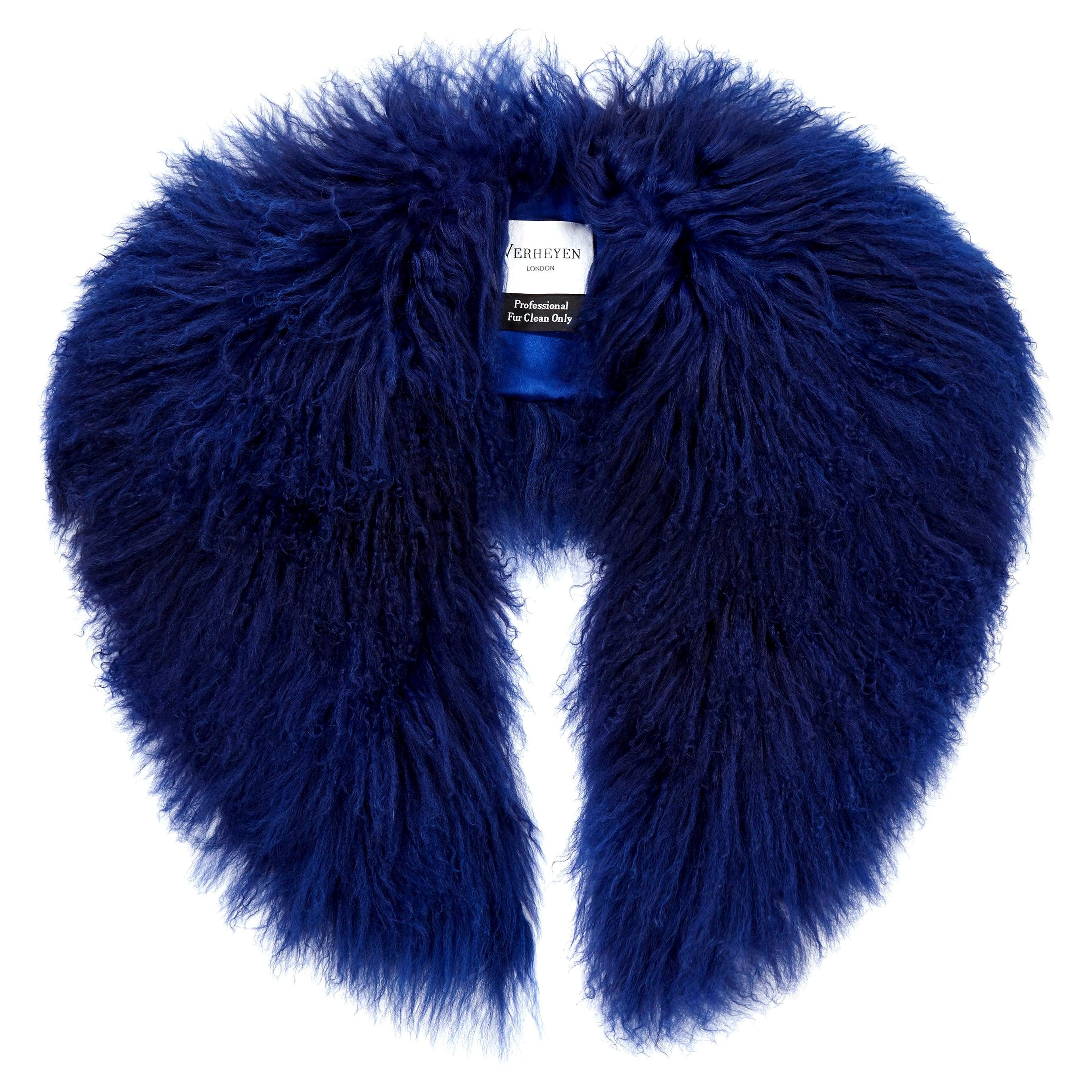 Verheyen London Shawl Collar in Sapphire Blue Mongolian Lamb