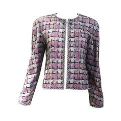 Chanel pink and blue embellished jacket
