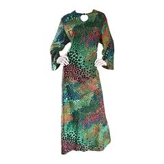Amazing Vintage Ample Annie Colorful Abstract Keyhole Bell Sleeve Caftan Dress
