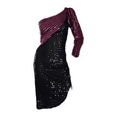1970s Samir Vintage Disco 70s Black Pink Sequin One Shoulder Color Block Dress