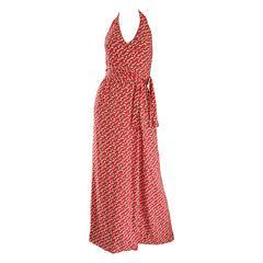Rare Vintage Geoffrey Beene ' Pill Print ' Halter Jersey Wrap Maxi Dress